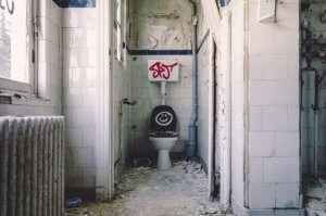 Toilet in derelict house